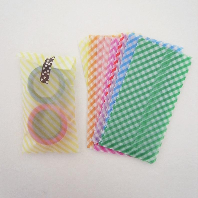 Brand-new Set Of Handmade 12 Stripe Pastel Glassine Envelopes Bags - - 14cm  XJ78